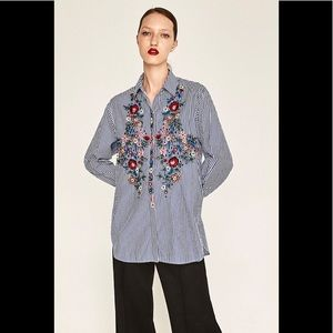 Zara Striped Floral Embroidered Poplin Blouse